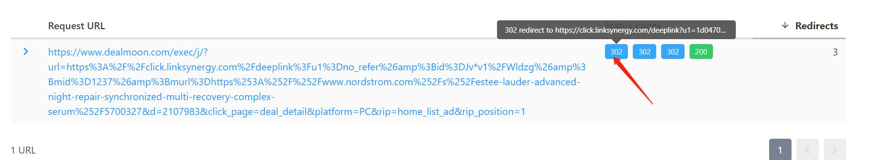 , 如何查看affiliate链接跳转过程中的细节?